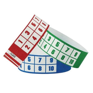 "1"" Tyvek Wristbands - Numbers"