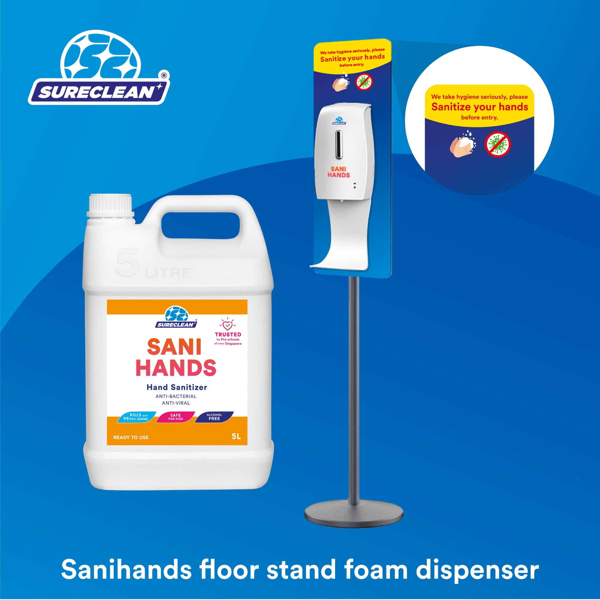 Sanihands Automatic Hand Sanitizer Dispenser (Floor Stand) + Refill Bundle