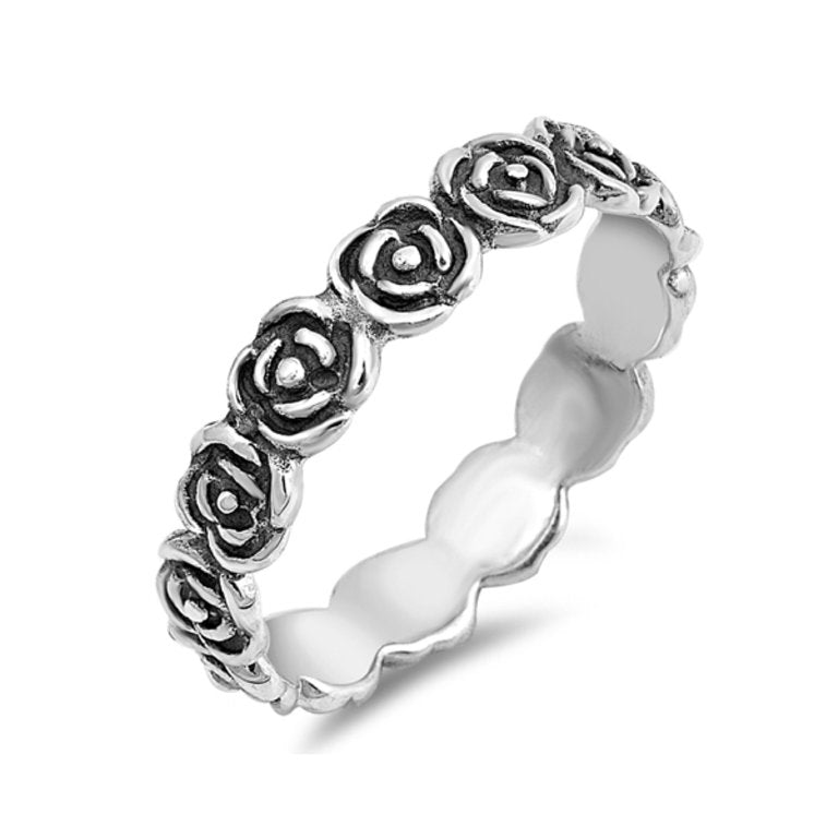 Sterling Silver Rose Halo Ring