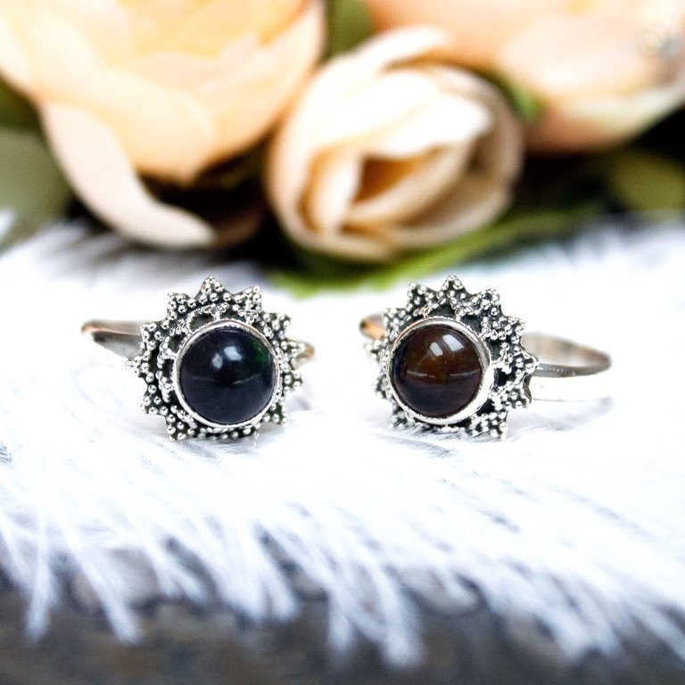 Black Opal Stargazer Ring