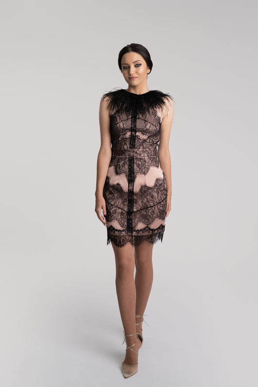 Cocktail dress, cream with black Chantilly lace