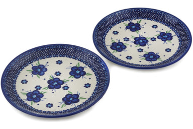 plates set of 2 in Bleu-belle Fleur pattern 7""