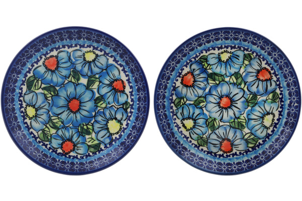plates set of 2 in Bold Blue Poppies pattern UNIKAT  7""
