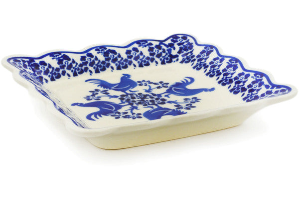 Scalloped Platter in Rooster At Night pattern 6""