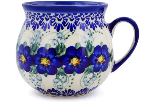 Bubble Mug in Blue Wildflower pattern UNIKAT  22 oz