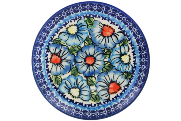 Set of 4 dessert plates in Bold Blue Poppies pattern UNIKAT  7""