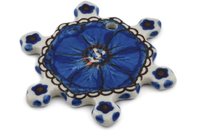 Snowflake Pendant in Cobalt Poppies pattern UNIKAT  3""