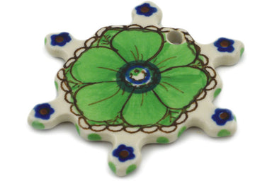 Snowflake Pendant in Green Pansies pattern UNIKAT  3""