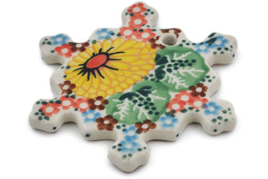 Snowflake Pendant in Enchanted Spring pattern UNIKAT  3""