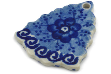 Christmas Tree Pendant in Dancing Blue Poppies pattern UNIKAT  3""