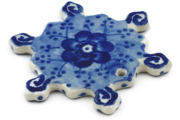 Snowflake Pendant in Dancing Blue Poppies pattern UNIKAT  3""