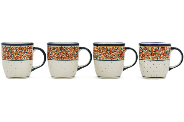 Set of Four 12oz Mugs in Russett Floral pattern 12 oz