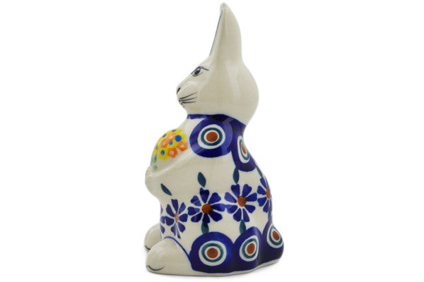 Bunny Figurine in Peacock pattern 5""