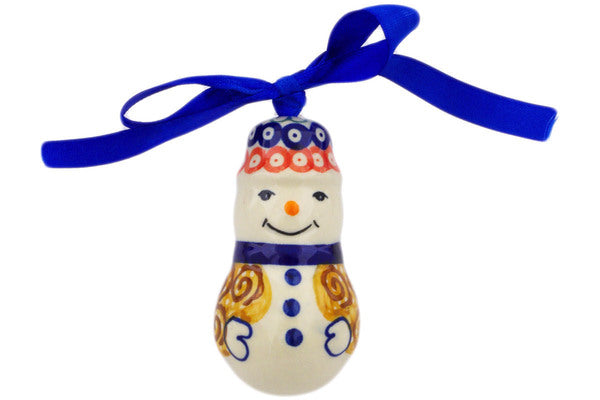 Ornament Snowman in October Leaves pattern UNIKAT  3""