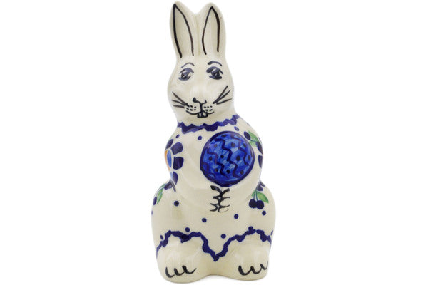 Bunny Figurine in Orange And Blue Flower pattern 5""