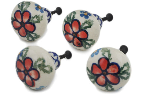 Set of 4 Drawer Pull Knobs 1-1/2 inch in Lancaster Rose pattern 1""