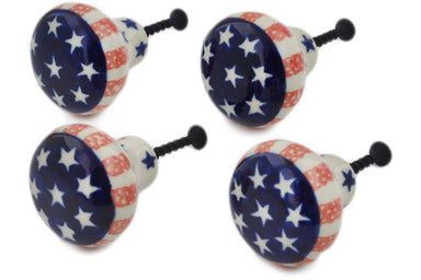 Set of 4 Drawer Pull Knobs 1-1/2 inch in Classic Americana pattern 1""