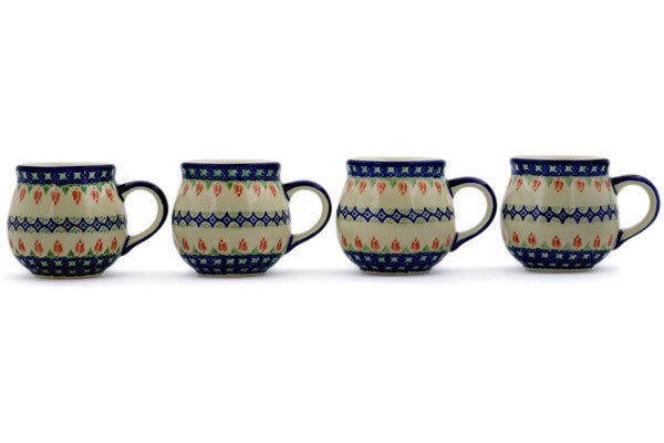 Set of 4 12oz Mugs in Tulips And Diamonds pattern 12 oz