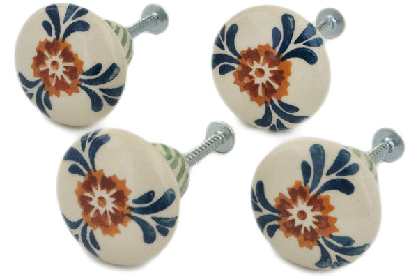 Set Of 4 Drawer Pull Knobs 1 1 2 Inch In Three Lillies Pattern Unikat Polish Pottery House