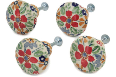 Set of 4 Drawer Pull Knobs 1-1/2 inch in Ruby Bouquet pattern UNIKAT  1""