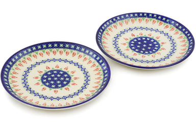 plates set of 2 in Tulips And Diamonds pattern 7""