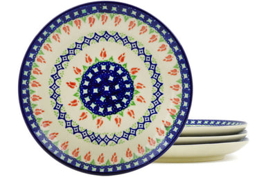 plates set of 4 in Tulips And Diamonds pattern 7""