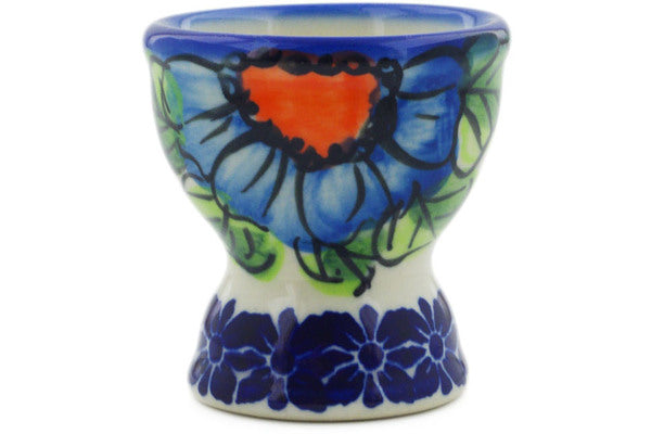 Egg Holder in Bold Blue Poppies pattern UNIKAT  2""