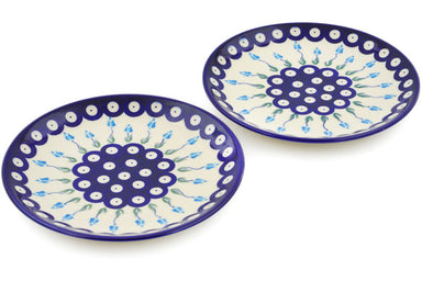 plates set of 2 in Peacock Tulip Garden pattern 7""