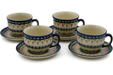 Set of 4 Cups with Saucers 9 oz - Coral Tulip | Polish Pottery House