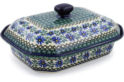 "12"" Covered Baker - Blue Daisy 