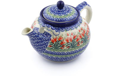 8 cup Tea Pot - Crimson Bells | Polish Pottery House