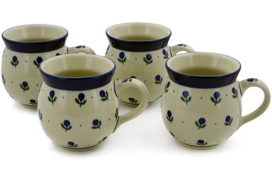Set of Four 12 oz Bubble Mugs - Blue Buds | Polish Pottery House