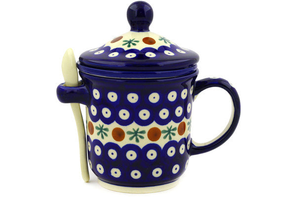 12 oz Brewing Mug with Spoon - Blue Old Poland | Polish Pottery House