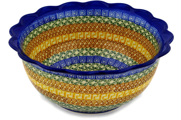 9 cup Scalloped Bowl - Blue Autumn | Polish Pottery House