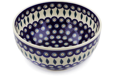 12 cup Serving Bowl - Peacock | Polish Pottery House
