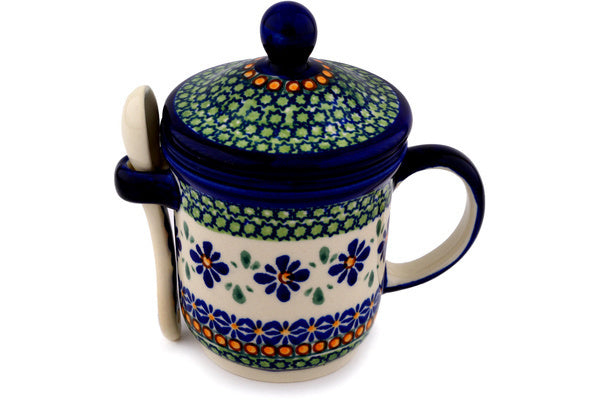 12 oz Brewing Mug with Spoon - Emerald Mosaic | Polish Pottery House
