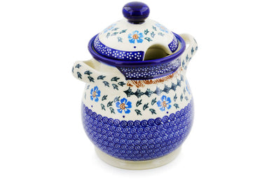 6 cup Jar with Lid and Handles - Sky Spin | Polish Pottery House