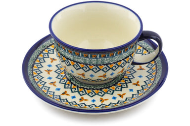 7 oz Cup with Saucer - Jade Swirl | Polish Pottery House