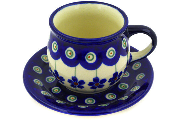3 oz Espresso Cup with Saucer - Floral Peacock | Polish Pottery House