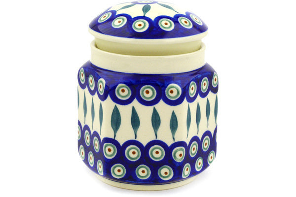 "6"" Jar with Lid - Peacock 