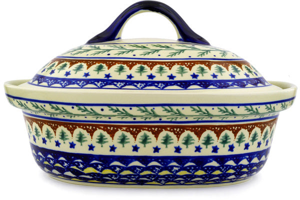 9 cup Covered Baker - Evergreen | Polish Pottery House