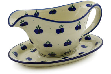 15 oz Gravy Boat with Saucer - 67AX | Polish Pottery House