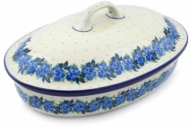 11 cup Covered Baker - Bendikas Floral | Polish Pottery House
