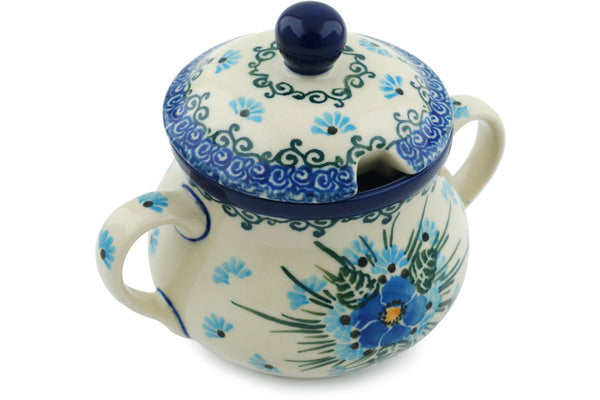 6 oz Sugar Bowl - Empire Blue | Polish Pottery House