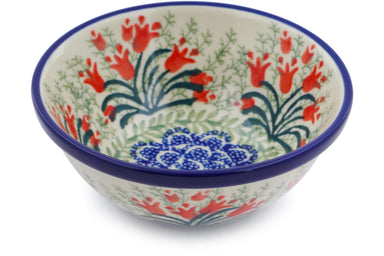 8 oz Dessert Bowl - Crimson Bells | Polish Pottery House