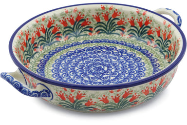 "9"" Round Baker with Handles - Crimson Bells 