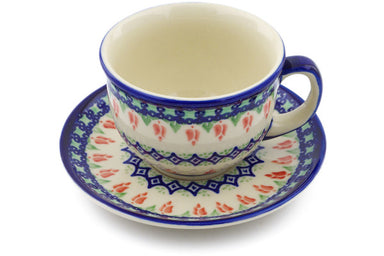 7 oz Cup with Saucer - D24 | Polish Pottery House