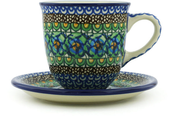 10 oz Cup with Saucer - Moonlight Blossom | Polish Pottery House