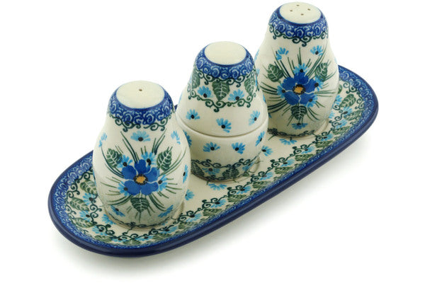 "10"" Salt and Pepper with Toothpick Holder - Empire Blue 