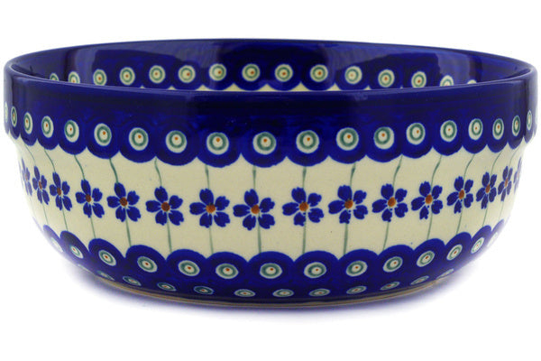 6 cup Serving Bowl - Floral Peacock | Polish Pottery House